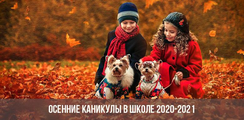 Осенние каникулы в школе в 2020-2021 учебном году
