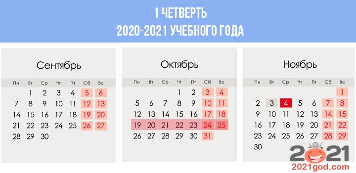 Сколько недель в календаре 1 четверти 2020-2021 учебного года