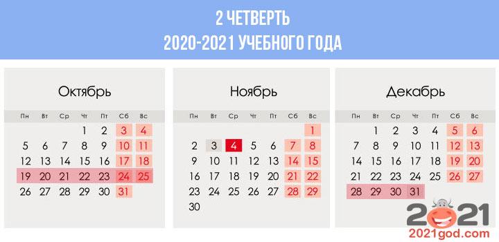 Сколько недель в календаре 2 четверти 2020-2021 учебного года