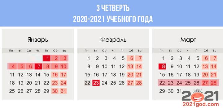 Сколько недель в календаре 3 четверти 2020-2021 учебного года