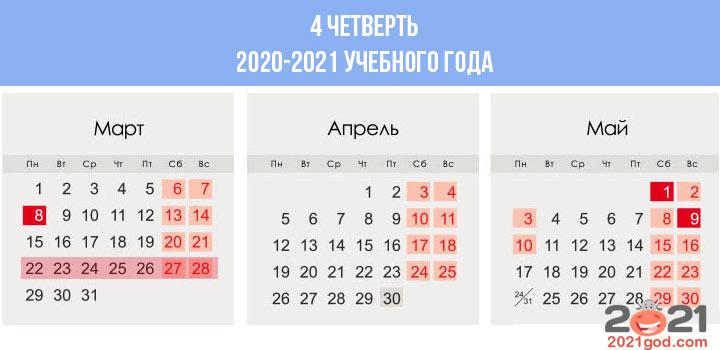 Сколько недель в календаре 4 четверти 2020-2021 учебного года