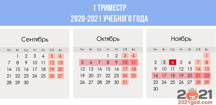Сколько недель в календаре 1 триместра 2020-2021 учебного года