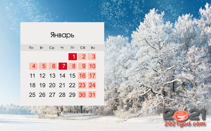 Календарь на январь 2021 года для России