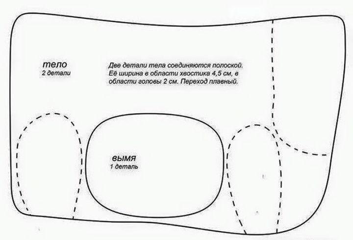 Схема по изготовлению подушки-коровы