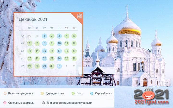 Православный календарь на декабрь 2021 года