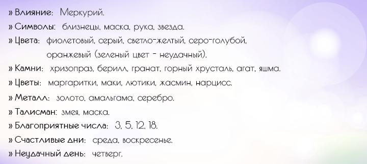 Характеристика Близнецов
