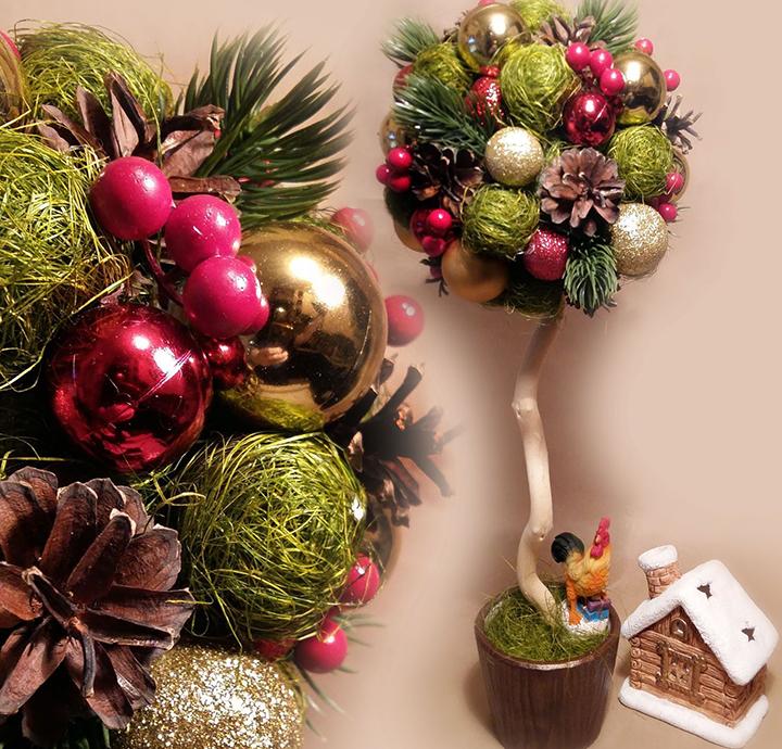 Мастер-класс по изготовлению новогоднего топиария из елочных игрушек