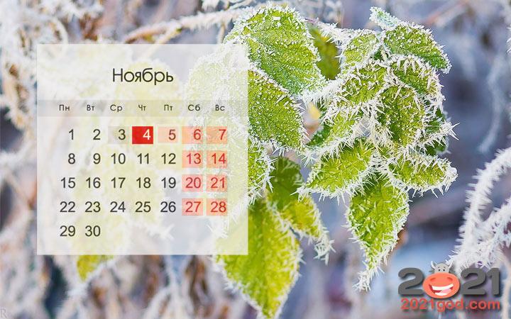 Праздники и выходные ноября 2021 года
