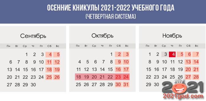 Осенние каникулы у школьников в 2020-2021 году