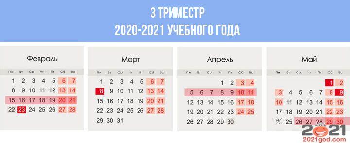 Триместровые кнаикулы в 2020-2021 учебном году