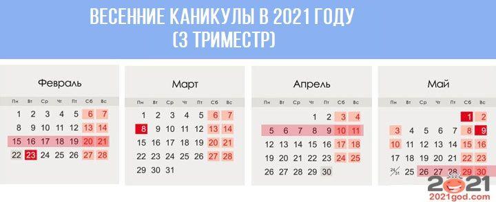 Весенние каникулы в 2021 году (для триместровой системы)