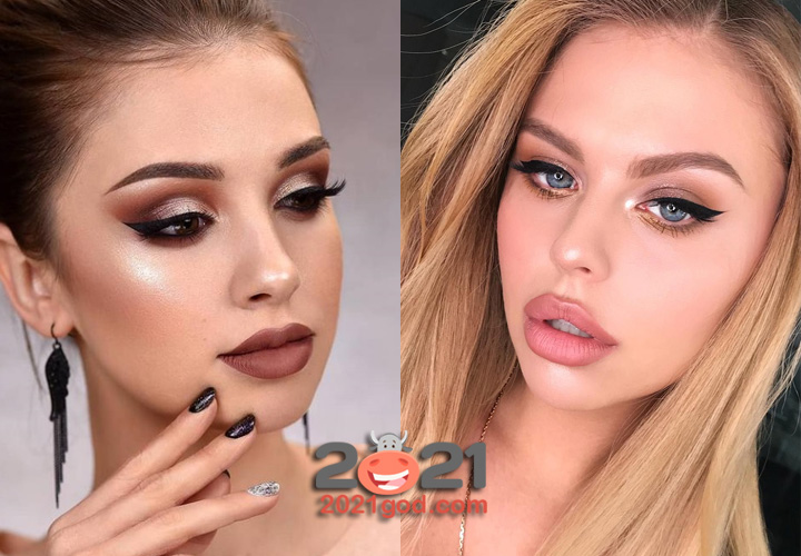 Новогодний макияж 2021 в нюдовых тонах