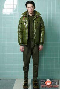 Короткий зеленый мужской пуховик осень-зима 2020-2021