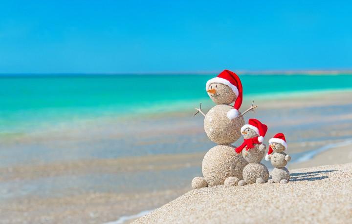 снеговики на берегу моря