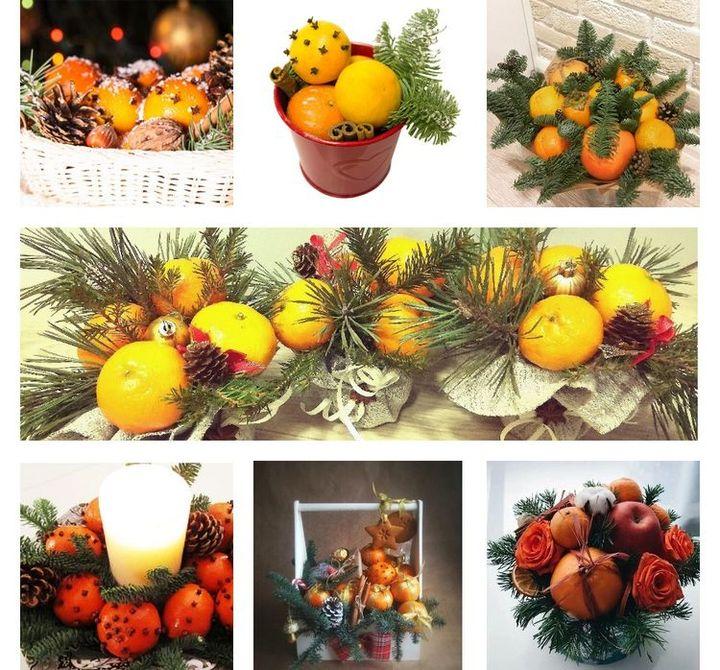 Новогодние композиции из мандаринов