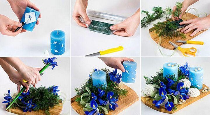 Новогодние композиции из живых цветов