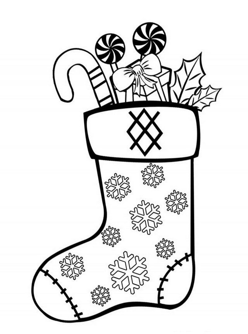 Раскраска новогодний сапожок