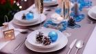 Сервировка новогоднего стола на 2021 год в бело-синей гамме