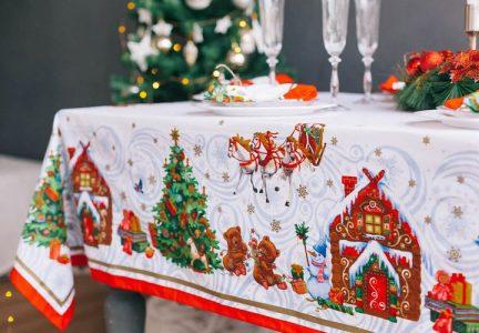 Скатерть на Новый Год 2021 в рождественской тематике