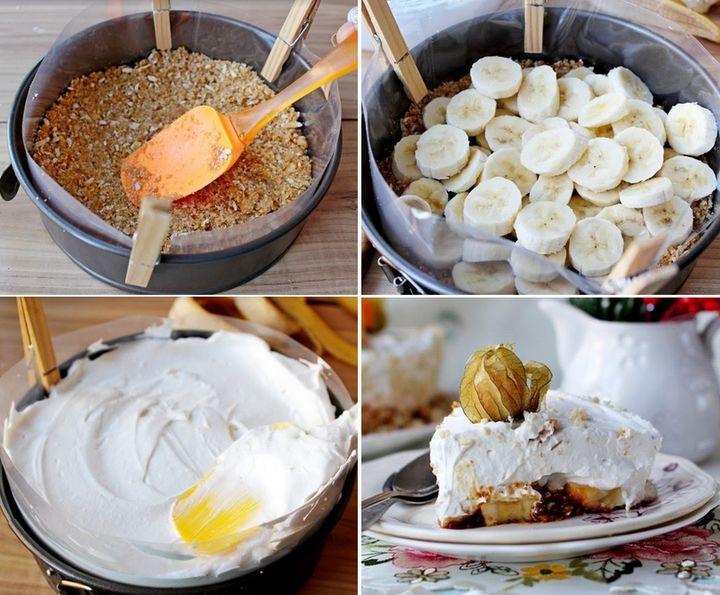 Быстрый торт со сливочным кремом и бананом