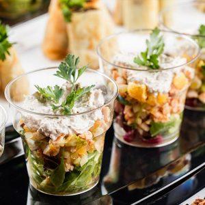 Салат в шотах - подача блюд на Новый Год 2021