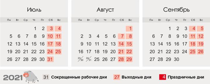 Календарь 2021 - 3 квартал