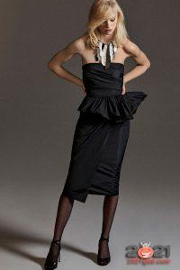 Брендовое черное платье сезона осень-зима 2020-2021
