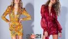 Цветные короткие платья сезона осень-зима 2020-2021