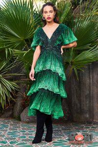 Коктейльное платье осень-зима 2020-2021 с многоярусной юбкой