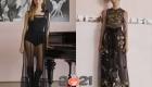 Модное прозрачное черное платье сезона осень-зима 2020-2021