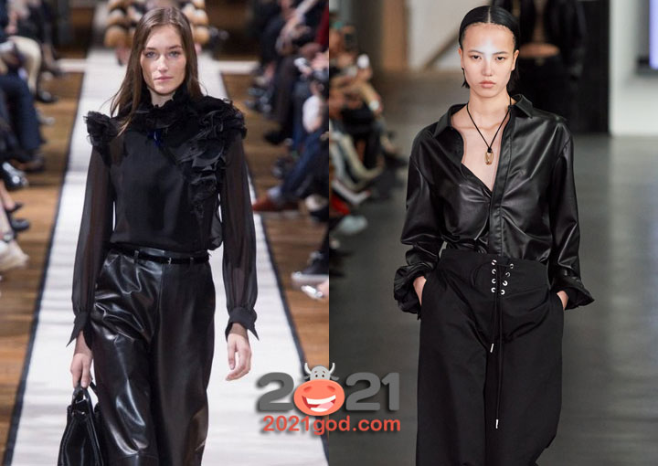Модные черные блузки сезона осень-зима 2020-2021