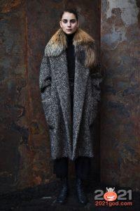 Модные женские пальто с большим меховым воротником