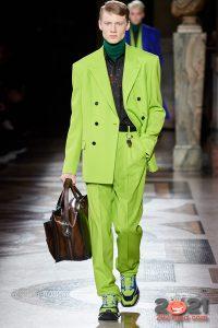 Салатовый мужской костюм осень-зима 2020-2021