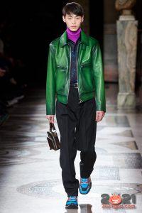 Мужская зеленая кожаная куртка сезона осень-зима 2020-2021