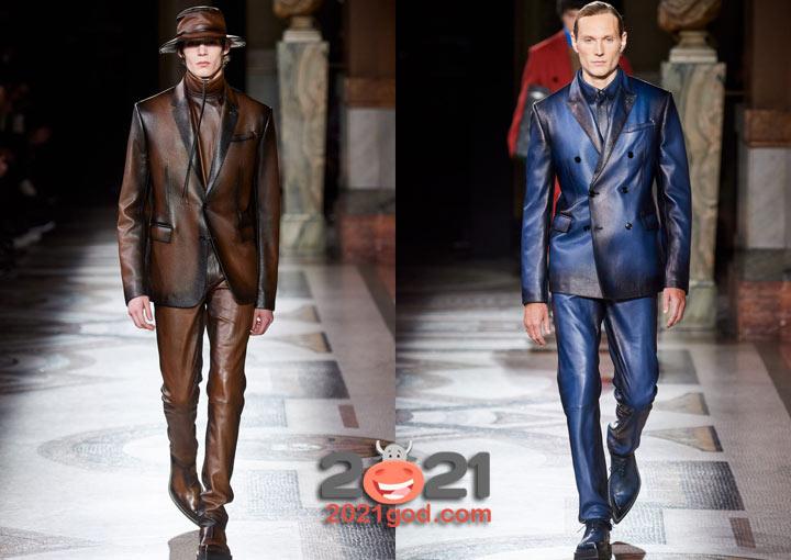Мужской кожаный костюм сезона осень-зима 2020-2021