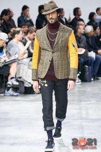 Мужской пиджак из комбинированной ткани осень-зима 2020-2021
