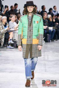 Мужское пальто из комбинированной ткани осень-зима 2020-2021