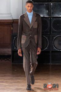 Костюм из комбинированной ткани - мужская мода 2020-2021