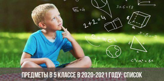 Предметы в 5 классе в 2020-2021 году: список