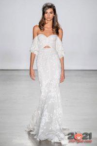 Свадебное платье белого цвета осень-зима 2020-2021