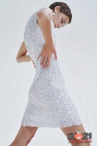 Короткое свадебное платье с пайетками сезона осень-зима 2020-2021