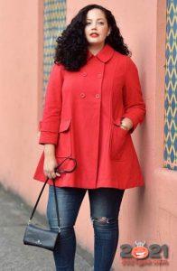 модное красное пальто для полных женщин на 2020-2021 год