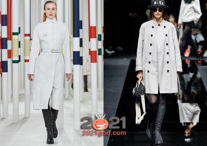Модные белые плащи 2020-2021 года