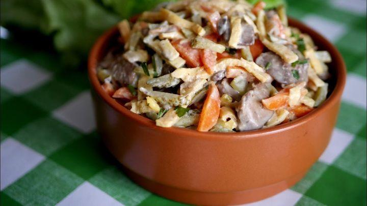 Салат с печенью и грецкими орехами