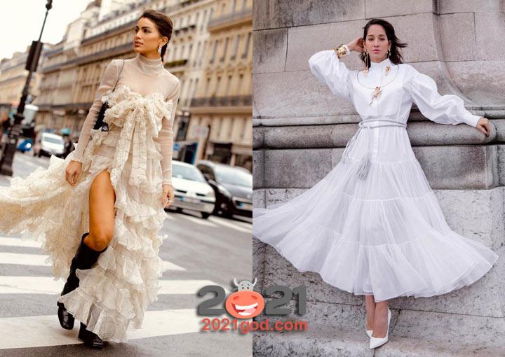 Модное платье - уличная мода Парижа осень-зима 2020-2021
