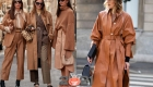 Уличная мода Милана  осень-зима 2020-2021- бежевый цвет