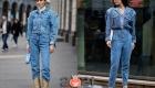 Уличная мода Милана  осень-зима 2020-2021- деним