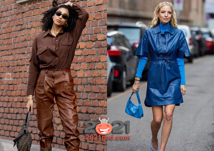 Модные кожаные вещи - удичная мода Милана 2020-2021