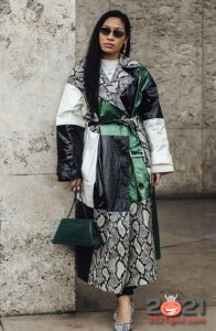 Лоскутное пальто - уличная мода Парижа сезона осень-зима 2020-2021