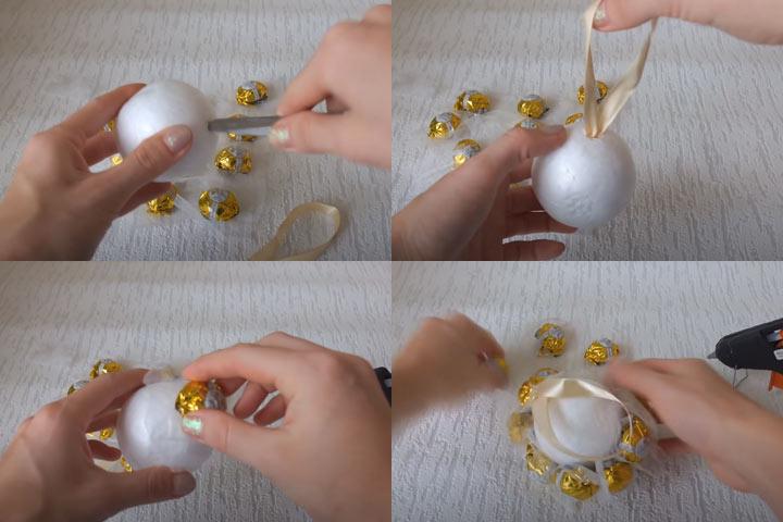 Шар из конфет своими руками (этап 2) пошаговая инструкция